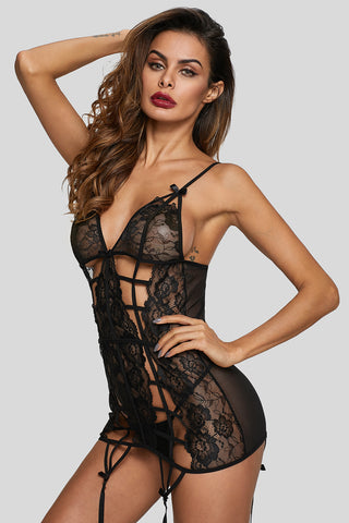 Black Caged Lace Chemise With G-String