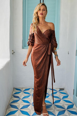 Brown Deep Neck Split Sequin Evening Gown