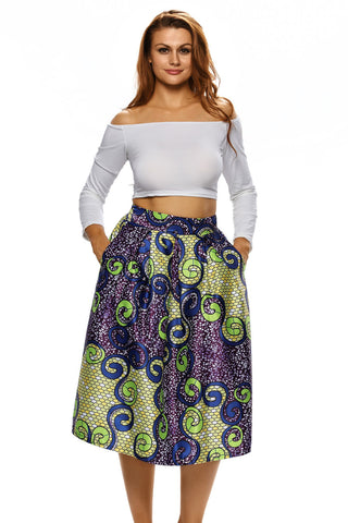 Multicolor  A-lined Midi Skirt