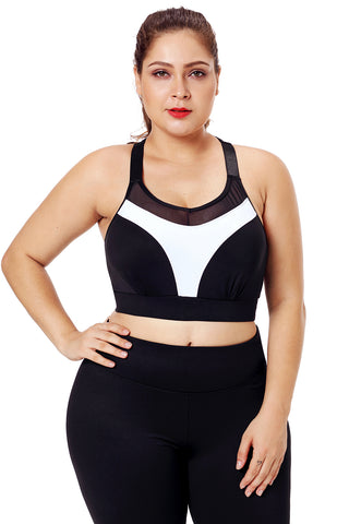 Black Mesh White Strap Sports Bra