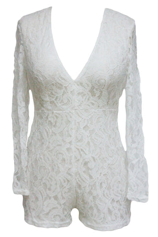 White Alluring Stylish Lace Club Romper - Boldgal.com
