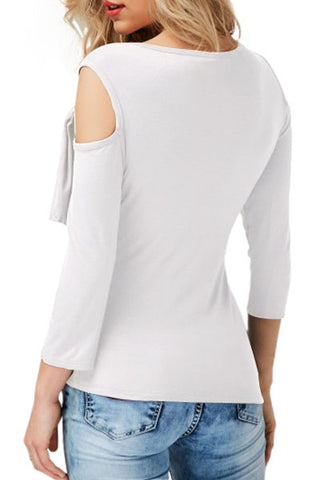 White Draped Cold Shoulders Top