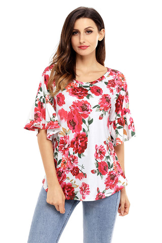 White Ruffle Floral Print Top