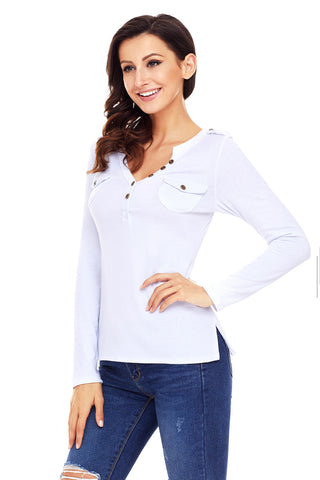 White Pockets Button Long Sleeves Top