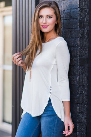 White Button Slit 3/4 Sleeves Top