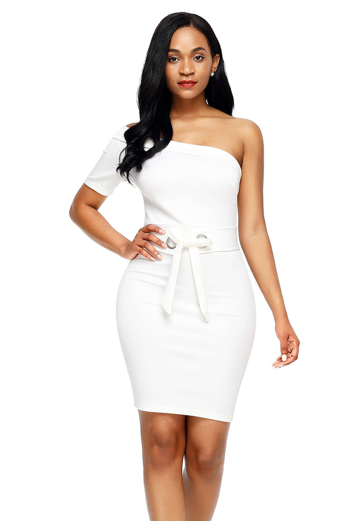 504ad19318fd Buy White One Shoulder Bodycon Dress Online India - Boldgal.com