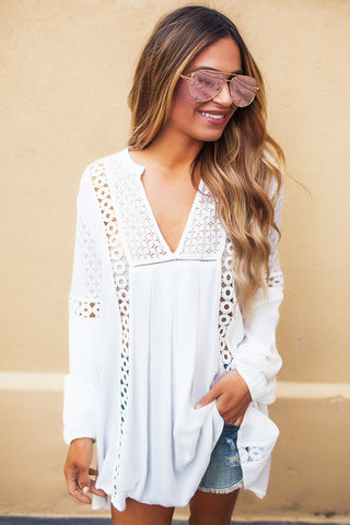 Tunic Crochet Lace Long Sleeves Top