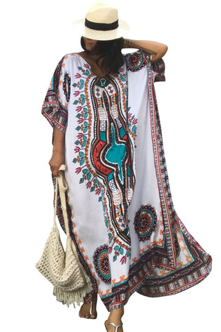 White Printed Beach Poncho