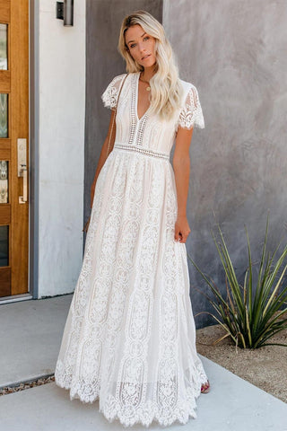 White Short Sleeves Fill Your Heart Maxi Dress