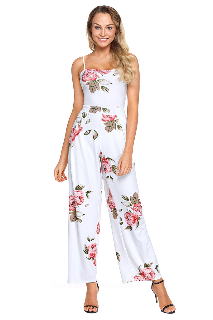 45d03de643 Buy White Floral Print Wide Leg Jumpsuit Online India - Boldgal.com