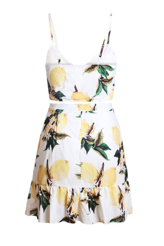 White Print Deep Neck Skirt Set