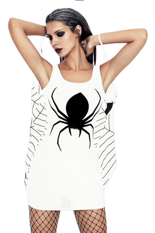 White Jersey Spiderweb Cosplay Costume