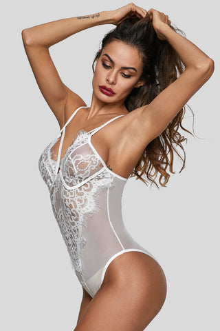 White Deep Neck Lace High Leg Bodysuit
