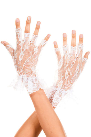 White Ladies Floral Lace Short Gloves - Boldgal.com