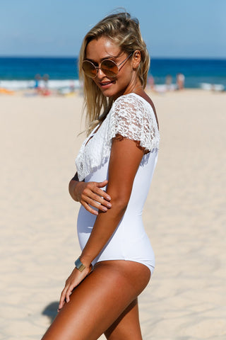 White Ruffle One Piece Swim Suit