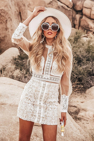 White Long Sleeves Lace Two Piece Set