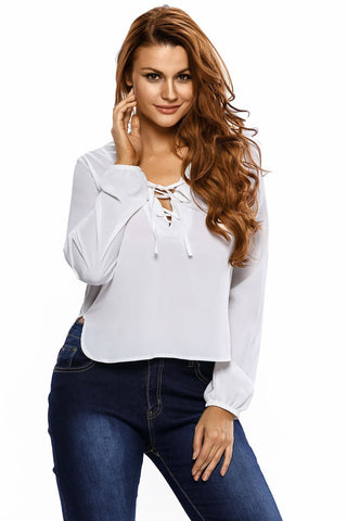 White Side Split Lace Up Crop Top
