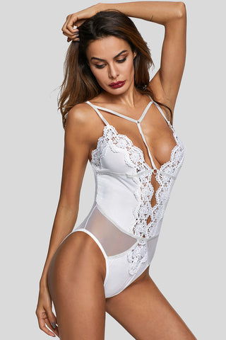 White Lace Deep Neck Bodysuit