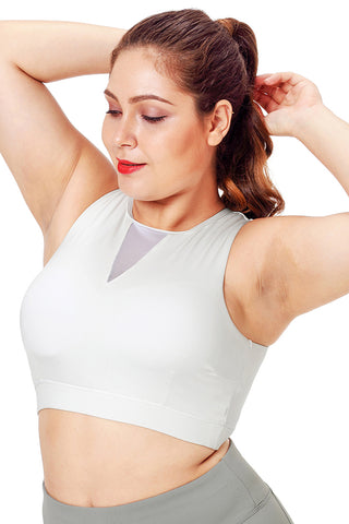 White High Neck Mesh Sports Bra