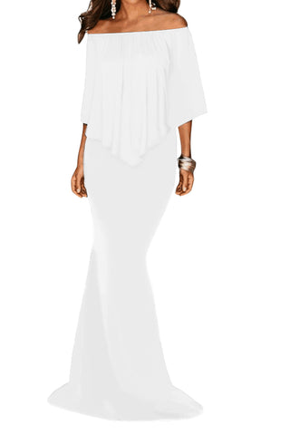 White Off Shoulder Overlay Ruffle Gown