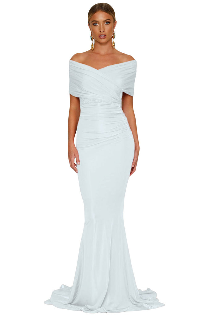 Buy White Off Shoulder Evening Gown Online India - Boldgal.com