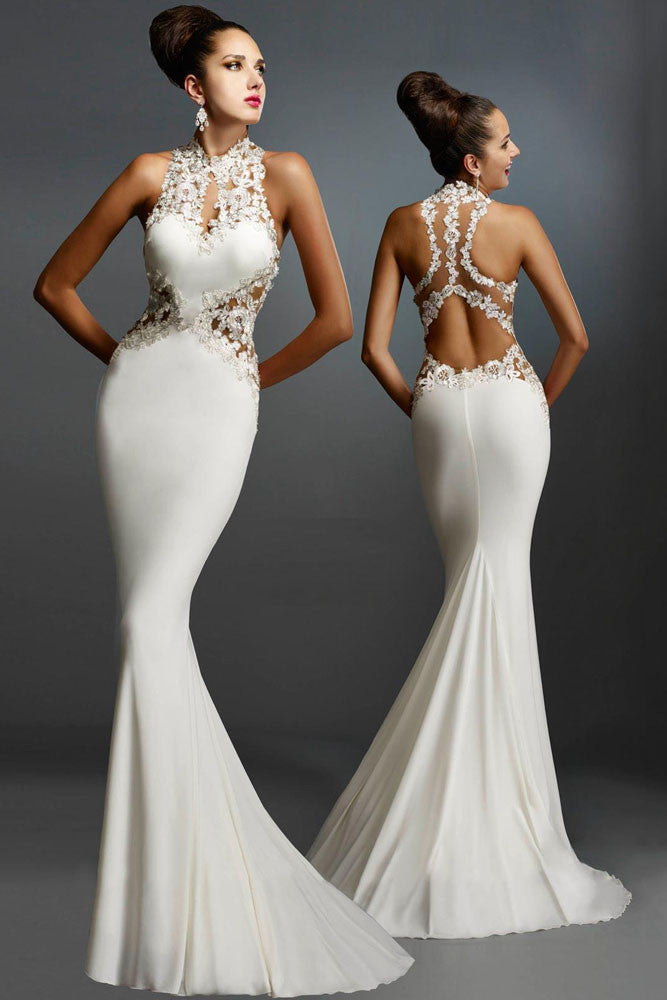 Buy White Backless Long Mermaid Evening Gown Dress - Boldgal.com