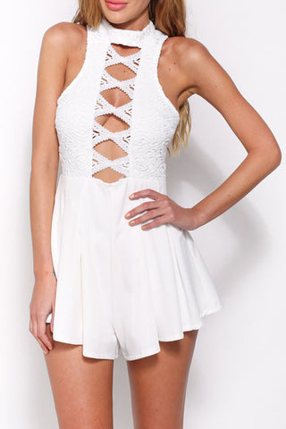 White High Neck Perfect Date Flared Playsuit - Boldgal.com
