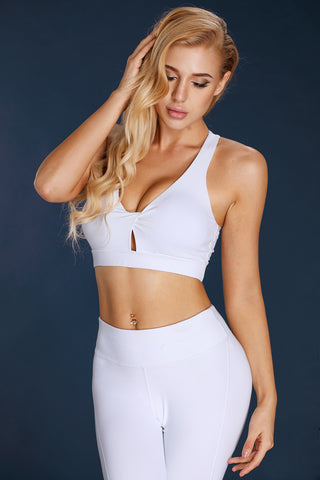 White Pleated V Neck Sports Bra