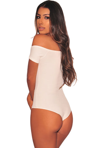 White Off Shoulder Ribbed Bodysuit
