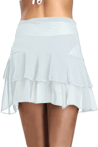 White Ruffled Mesh Short Skirt
