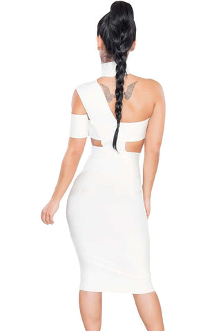 White Slim Cutout High Neck Party Dress - Boldgal.com