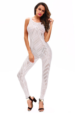 White Mesh Long Net Women Club Jumpsuit - Boldgal.com