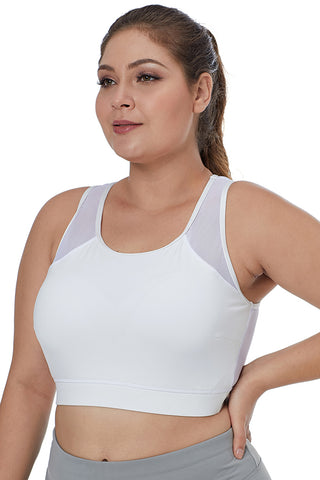 White Back Mesh Sports Bra