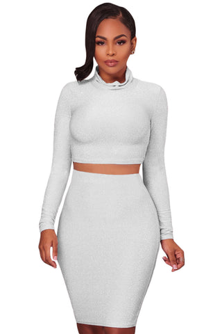 White Shimmer Cowl Neck Two Piece Set