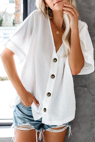 White Short Sleeves Button Down Shirt Top
