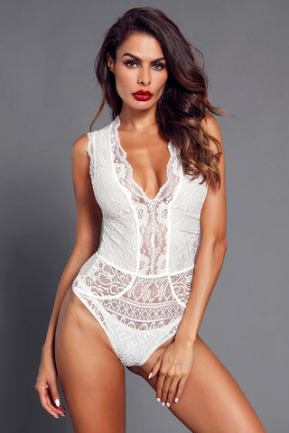 White Hollow-Out Deep Neck Bodysuit
