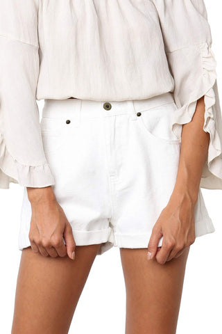 White Vintage High Waist Denim Shorts