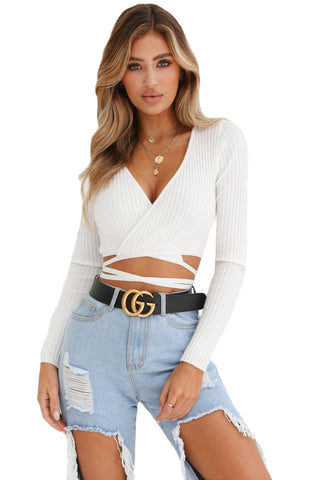 White Deep Neck Ribbed Wrap Crop Top