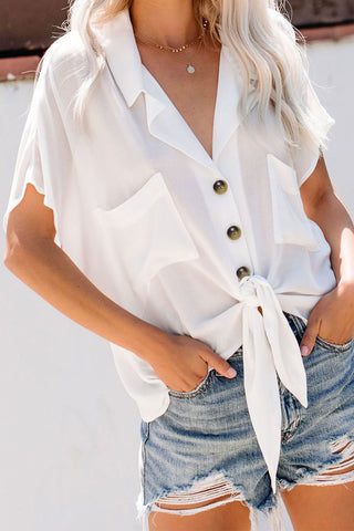 White Collared Button Down Tie Shirt Top