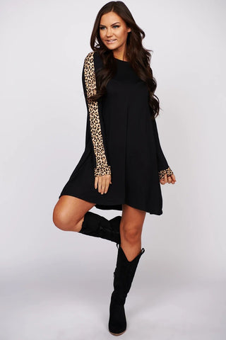 Black Leopard Print Sleeve Short Dress