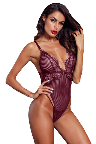 Red Wine Mesh Striped Sleeveless Bodysuit