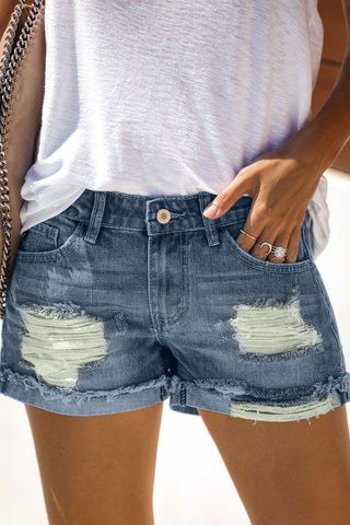 Light Blue Ripped Distressed Denim Shorts