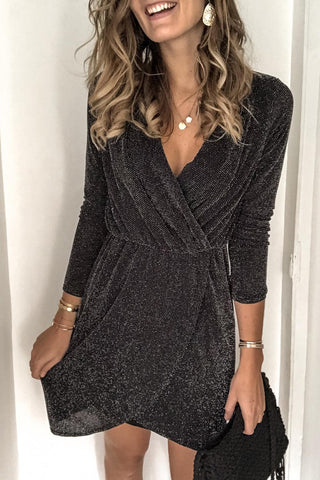 Grey Metallic Deep Neck Wrap Dress
