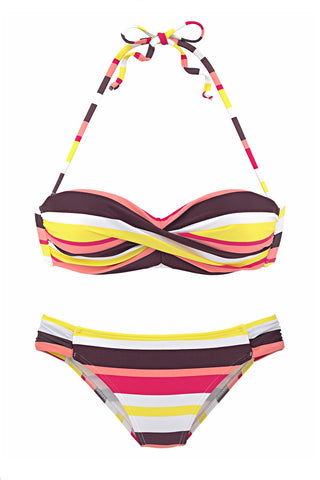 Yellow Push up Stripes Boho Bikini Set