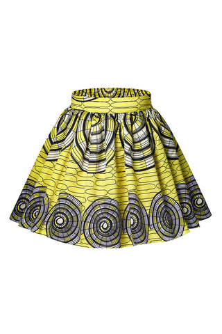Yellow Skater Print Flared Skirt