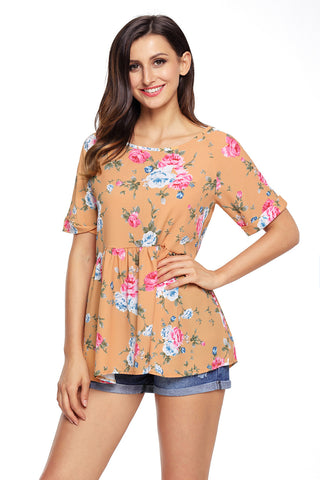 Peach Puff Back Lace-up Floral Top