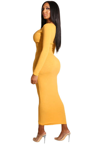Yellow Snap Button Long Sleeves Ribbed Dress