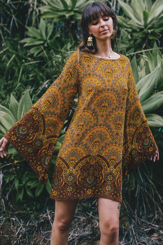 Yellow Starlight Bell Sleeve Printed Dress