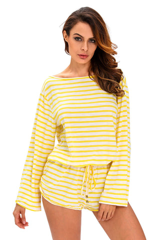 Yellow Stripe Cover-Up Stylish Batwing Romper - Boldgal.com