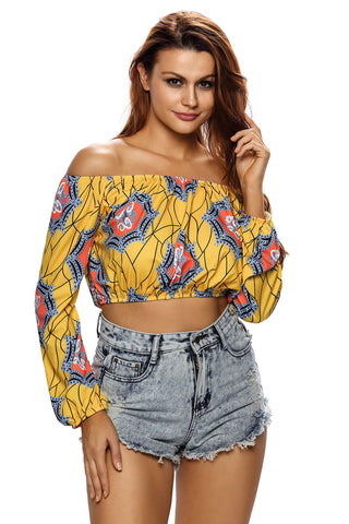 Yellow Off Shoulder Geometric Print Crop Top